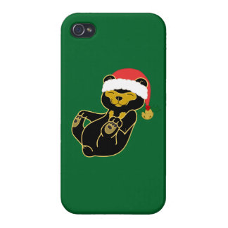 Christmas Sun Bear with Santa Hat & Jingle Bell iPhone 4/4S Case