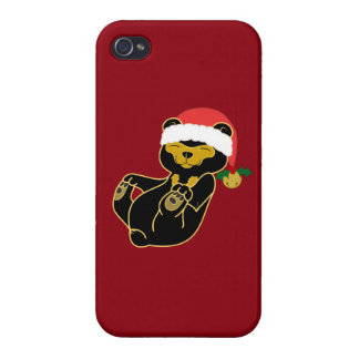 Christmas Sun Bear with Santa Hat & Jingle Bell iPhone 4/4S Cases