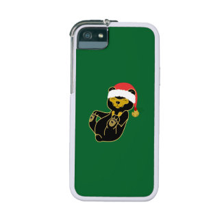 Christmas Sun Bear with Santa Hat & Jingle Bell iPhone 5 Case