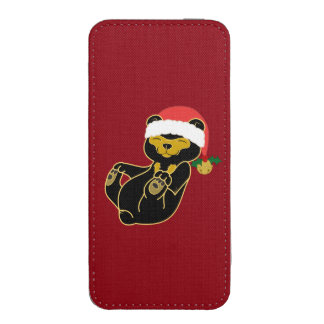 Christmas Sun Bear with Santa Hat & Jingle Bell iPhone 5 Pouch