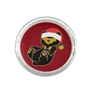 Christmas Sun Bear with Santa Hat & Jingle Bell Photo Rings