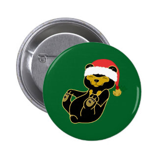 Christmas Sun Bear with Santa Hat & Jingle Bell Pinback Button