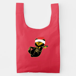 Christmas Sun Bear with Santa Hat & Jingle Bell Reusable Bag