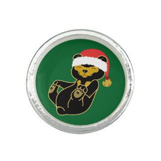 Christmas Sun Bear with Santa Hat & Jingle Bell Rings