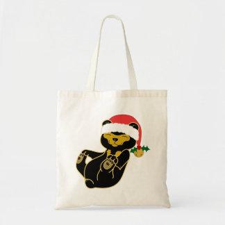 Christmas Sun Bear with Santa Hat & Jingle Bell Tote Bag