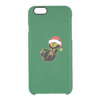 Christmas Sun Bear with Santa Hat & Jingle Bell Uncommon Clearly™ Deflector iPhone 6 Case