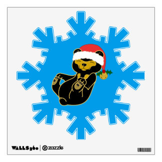 Christmas Sun Bear with Santa Hat & Jingle Bell Wall Decal