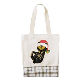 Christmas Sun Bear with Santa Hat & Jingle Bell Zazzle HEART Tote Bag