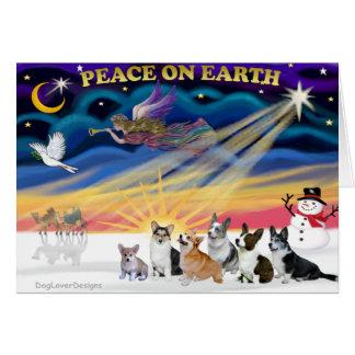 Christmas Sunrise - Welsh Corgies (six) Card