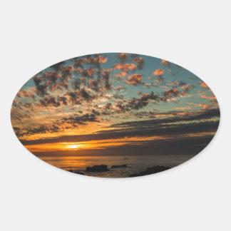 Christmas Sunset Oval Sticker