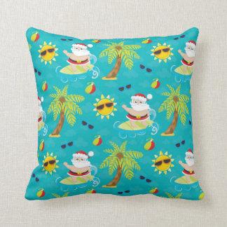 Christmas surfing santa beach house pillow