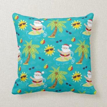 Beach Themed Christmas surfing santa beach house pillow