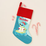 Christmas surfing snowman add name stocking