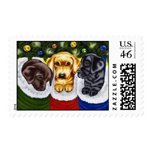 Christmas Surprise Labrador Puppies Stamps