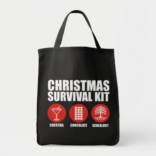 Christmas Survival Kit - Cocktail Grocery Tote Bag