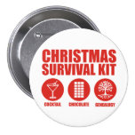 Christmas Survival Kit - Cocktail Pinback Button