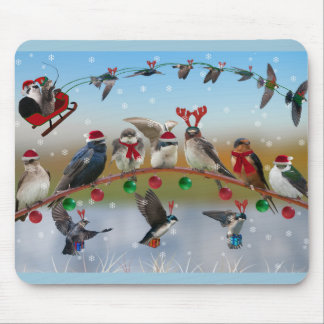 Christmas Swallows Mousepads