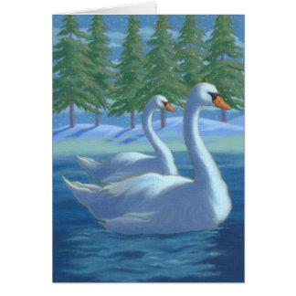 Christmas swans card