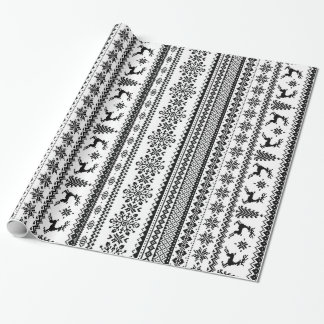 Christmas sweater black white fair isle pattern wrapping paper