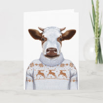 Christmas Sweater Cow Card