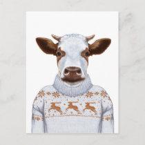 Christmas Sweater Cow Postcard