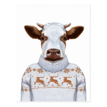 Christmas Sweater Cow Postcard