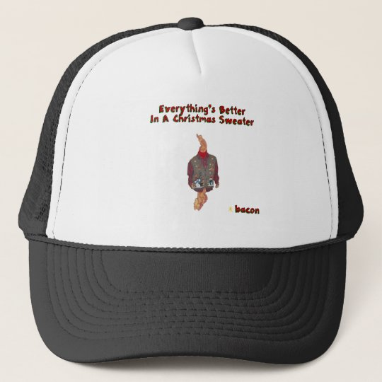 Christmas Sweater-ized Bacon Trucker Hat