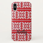 Christmas Sweater Knit Red White Cute Custom Text iPhone XS Case