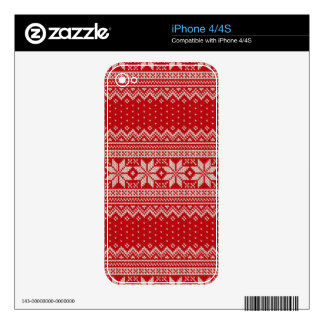Christmas Sweater Knitting Pattern - RED iPhone 4 Skin
