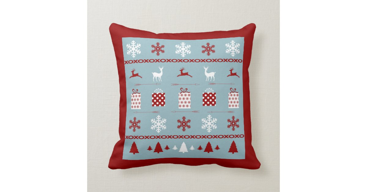 Christmas Sweater Pattern, white, red and blue Throw Pillow Zazzle.com