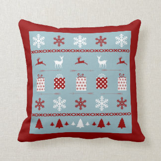Christmas Sweater Pattern, white, red and blue Throw Pillow