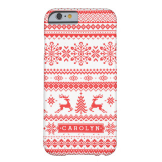 Christmas sweater red fair isle pattern monogram barely there iPhone 6 case