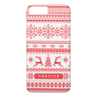 Christmas sweater red fair isle pattern monogram iPhone 7 plus case