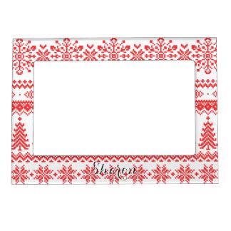 Christmas sweater red fair isle pattern monogram magnetic photo frame