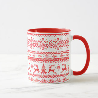 Christmas sweater red fair isle pattern monogram mug