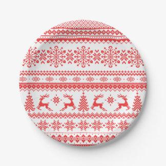 Christmas sweater red fair isle pattern monogram paper plate