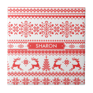 Christmas sweater red fair isle pattern monogram small square tile