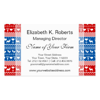 Christmas Sweater Reindeer, Snowflakes and Mittens Business Card Template
