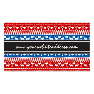 Christmas Sweater Reindeer, Snowflakes and Mittens Business Card Templates