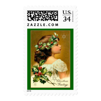 Christmas Sweet Girl in White with Green Holly Postage