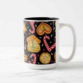 Christmas sweets. Black background Two-Tone Coffee Mug