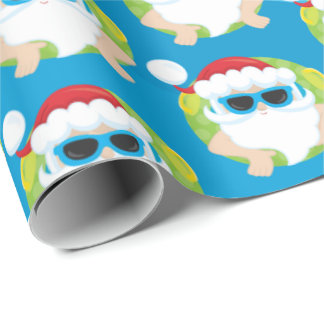 Christmas swimming beach tiled Santa party wrap Wrapping Paper