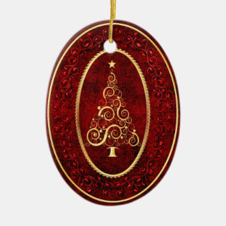 Christmas Swirl Tree with Gold Accents Ceramic Ornament
