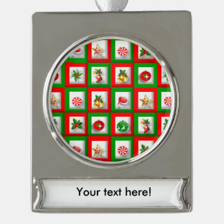 Christmas symbols illustration silver plated banner ornament