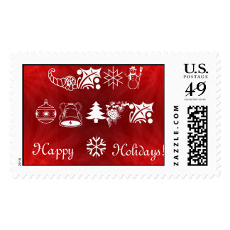 Christmas Symbols on red background Stamps