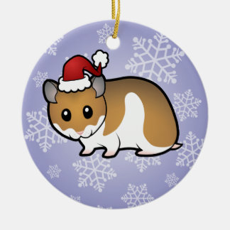 Christmas Syrian Hamster Ceramic Ornament