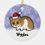 Christmas Syrian Hamster Double-Sided Ceramic Round Christmas Ornament