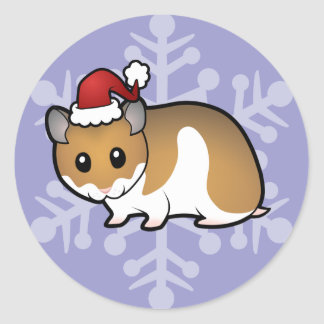 Christmas Syrian Hamster Round Stickers