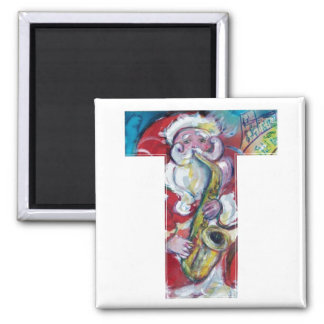 CHRISTMAS T LETTER /SANTA AND SAX MONOGRAM 2 INCH SQUARE MAGNET