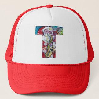 CHRISTMAS T LETTER /SANTA AND SAX MONOGRAM TRUCKER HAT